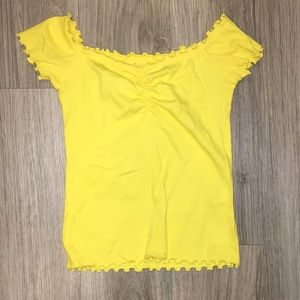 Yellow Lettuce Edge off the shoulder top